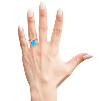3 3/4 Carat Blue Topaz and Halo Diamond Ring In 14 Karat White Gold