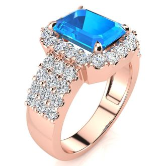 3 3/4 Carat Blue Topaz and Halo Diamond Ring In 14 Karat Rose Gold