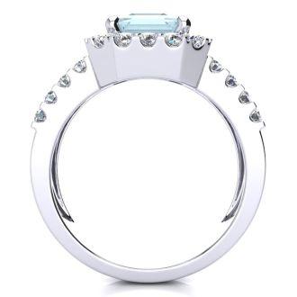 3 Carat Aquamarine and Halo Diamond Ring In 14 Karat White Gold