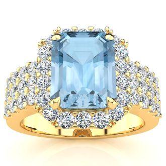 3 Carat Aquamarine and Halo Diamond Ring In 14 Karat Yellow Gold