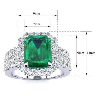 3 Carat Emerald and Halo Diamond Ring In 14 Karat White Gold