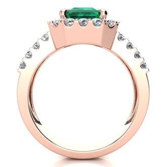 3 Carat Emerald and Halo Diamond Ring In 14 Karat Rose Gold