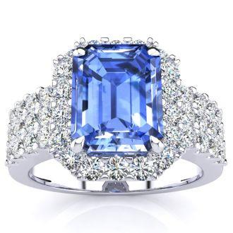 3 1/2 Carat Tanzanite and Halo Diamond Ring In 14 Karat White Gold