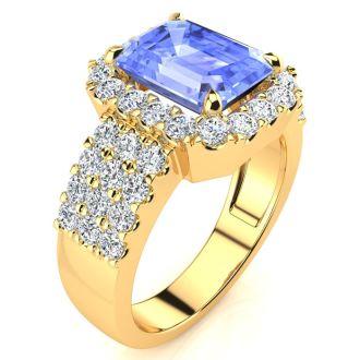 3 1/2 Carat Tanzanite and Halo Diamond Ring In 14 Karat Yellow Gold