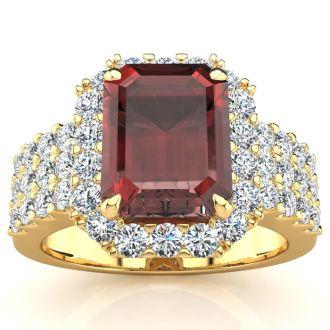 3 3/4 Carat Garnet and Halo Diamond Ring In 14 Karat Yellow Gold