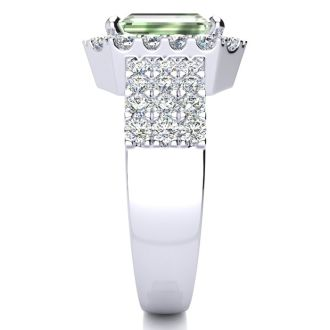3 Carat Green Amethyst and Halo Diamond Ring In 14 Karat White Gold
