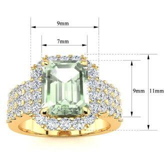 3 Carat Green Amethyst and Halo Diamond Ring In 14 Karat Yellow Gold