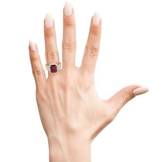 3 3/4 Carat Ruby and Halo Diamond Ring In 14 Karat Yellow Gold