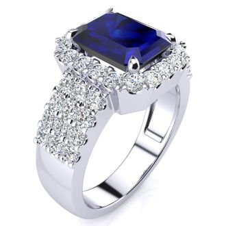 3 3/4 Carat Sapphire and Halo Diamond Ring In 14 Karat White Gold
