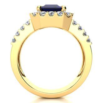 3 3/4 Carat Sapphire and Halo Diamond Ring In 14 Karat Yellow Gold