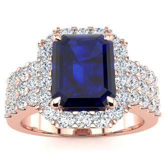 3 3/4 Carat Sapphire and Halo Diamond Ring In 14 Karat Rose Gold