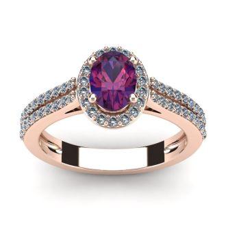 1 Carat Oval Shape Amethyst and Halo Diamond Ring In 14 Karat Rose Gold