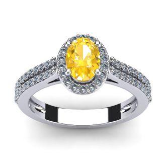 1 Carat Oval Shape Citrine and Halo Diamond Ring In 14 Karat White Gold