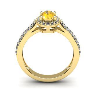 1 Carat Oval Shape Citrine and Halo Diamond Ring In 14 Karat Yellow Gold
