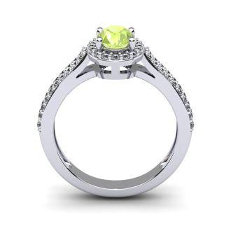 1 1/3 Carat Oval Shape Peridot and Halo Diamond Ring In 14 Karat White Gold