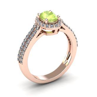 1 1/3 Carat Oval Shape Peridot and Halo Diamond Ring In 14 Karat Rose Gold