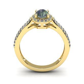 1 1/2 Carat Oval Shape Mystic Topaz and Halo Diamond Ring In 14 Karat Yellow Gold
