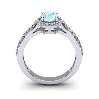1 1/4 Carat Oval Shape Aquamarine and Halo Diamond Ring In 14 Karat White Gold