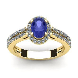1 1/3 Carat Oval Shape Tanzanite and Halo Diamond Ring In 14 Karat Yellow Gold
