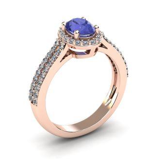 1 1/3 Carat Oval Shape Tanzanite and Halo Diamond Ring In 14 Karat Rose Gold