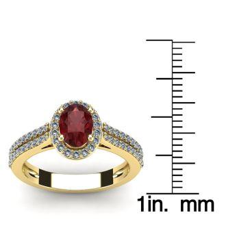 1 1/2 Carat Oval Shape Garnet and Halo Diamond Ring In 14 Karat Yellow Gold