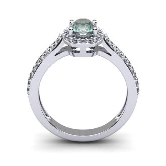 1 Carat Oval Shape Green Amethyst and Halo Diamond Ring In 14 Karat White Gold