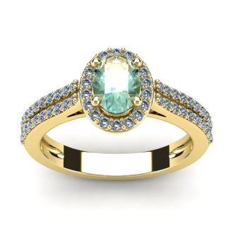 1 Carat Oval Shape Green Amethyst and Halo Diamond Ring In 14 Karat Yellow Gold