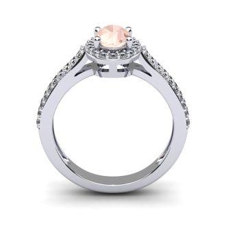 1 1/4 Carat Oval Shape Morganite and Halo Diamond Ring In 14 Karat White Gold