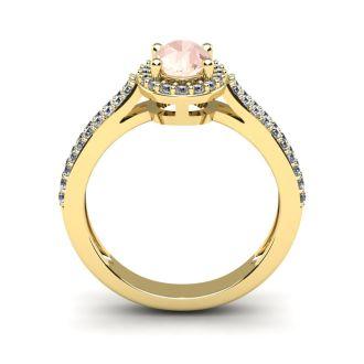 1 1/4 Carat Oval Shape Morganite and Halo Diamond Ring In 14 Karat Yellow Gold