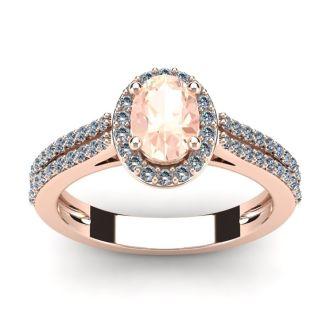 1 1/4 Carat Oval Shape Morganite and Halo Diamond Ring In 14 Karat Rose Gold
