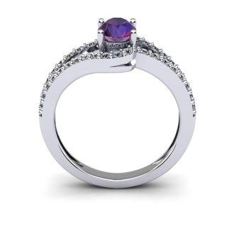 1 Carat Oval Shape Amethyst and Fancy Diamond Ring In 14 Karat White Gold