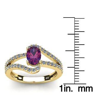 1 Carat Oval Shape Amethyst and Fancy Diamond Ring In 14 Karat Yellow Gold