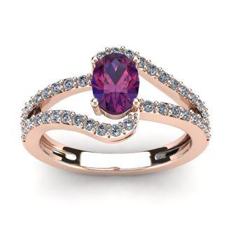 1 Carat Oval Shape Amethyst and Fancy Diamond Ring In 14 Karat Rose Gold