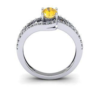 1 Carat Oval Shape Citrine and Fancy Diamond Ring In 14 Karat White Gold