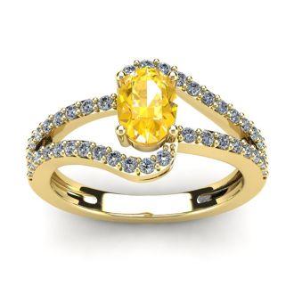 1 Carat Oval Shape Citrine and Fancy Diamond Ring In 14 Karat Yellow Gold
