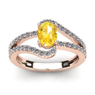 1 Carat Oval Shape Citrine and Fancy Diamond Ring In 14 Karat Rose Gold