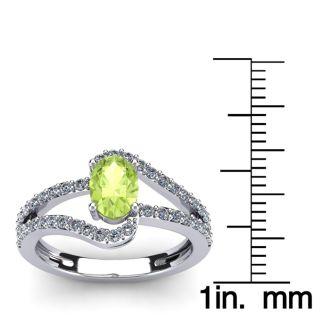 1 1/3 Carat Oval Shape Peridot and Fancy Diamond Ring In 14 Karat White Gold