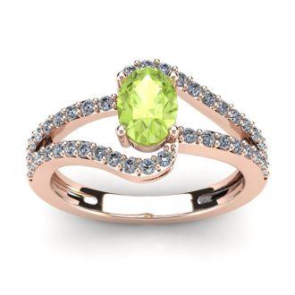1 1/3 Carat Oval Shape Peridot and Fancy Diamond Ring In 14 Karat Rose Gold