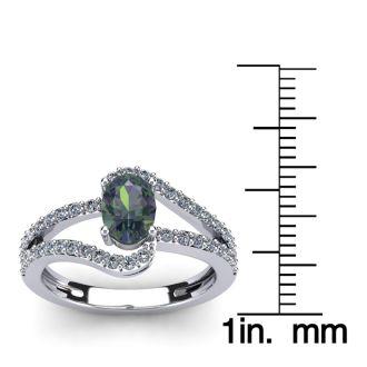 1 1/2 Carat Oval Shape Mystic Topaz and Fancy Diamond Ring In 14 Karat White Gold