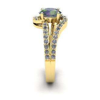 1 1/2 Carat Oval Shape Mystic Topaz and Fancy Diamond Ring In 14 Karat Yellow Gold