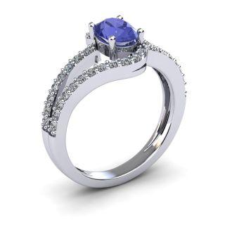 1 1/3 Carat Oval Shape Tanzanite and Fancy Diamond Ring In 14 Karat White Gold