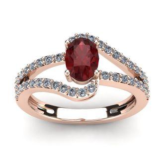 1 1/2 Carat Oval Shape Garnet and Fancy Diamond Ring In 14 Karat Rose Gold