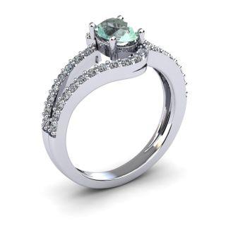 1 Carat Oval Shape Green Amethyst and Fancy Diamond Ring In 14 Karat White Gold