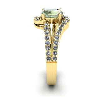 1 Carat Oval Shape Green Amethyst and Fancy Diamond Ring In 14 Karat Yellow Gold