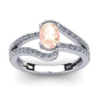 1 1/4 Carat Oval Shape Morganite and Fancy Diamond Ring In 14 Karat White Gold