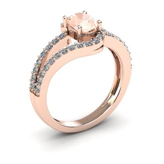 1 1/4 Carat Oval Shape Morganite and Fancy Diamond Ring In 14 Karat Rose Gold
