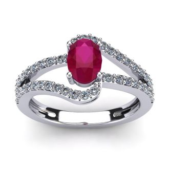 1 1/3 Carat Oval Shape Ruby and Fancy Diamond Ring In 14 Karat White Gold