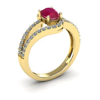 1 1/3 Carat Oval Shape Ruby and Fancy Diamond Ring In 14 Karat Yellow Gold