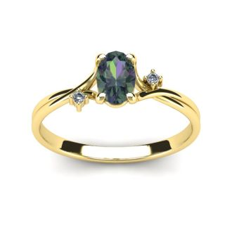 1/2 Carat Oval Shape Mystic Topaz and Two Diamond Accent Ring In 14 Karat Yellow Gold