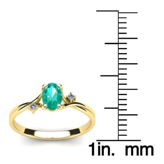 1/2 Carat Oval Shape Emerald and Two Diamond Accent Ring In 14 Karat Yellow Gold